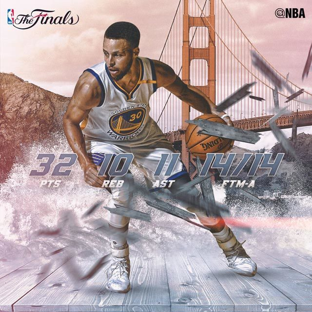 Steph records his first EVER postseason triple double. (32 Pts, 10 Reb, 11 Ast) @warriors take 2-0 #NBAFinals lead. #SAPStatLineOfTheNight