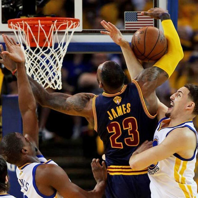 LeBron James #23 of the Cleveland Cavaliers goes up against Klay Thompson #11 of the Golden State Warriors in the first half during Game One of the 2015 NBA Finals at ORACLE Arena on June 4, 2015 in Oakland, California.